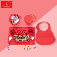 4Pcs/Set Baby Silicone Plate/Bowl+Spoon+Fork+Bib Feeding Food Tableware Set Cartoon Crab Anti-overturning Training Dinner Tray cartoon cow pattern non toxic silicone feeding food baby bib deep pink