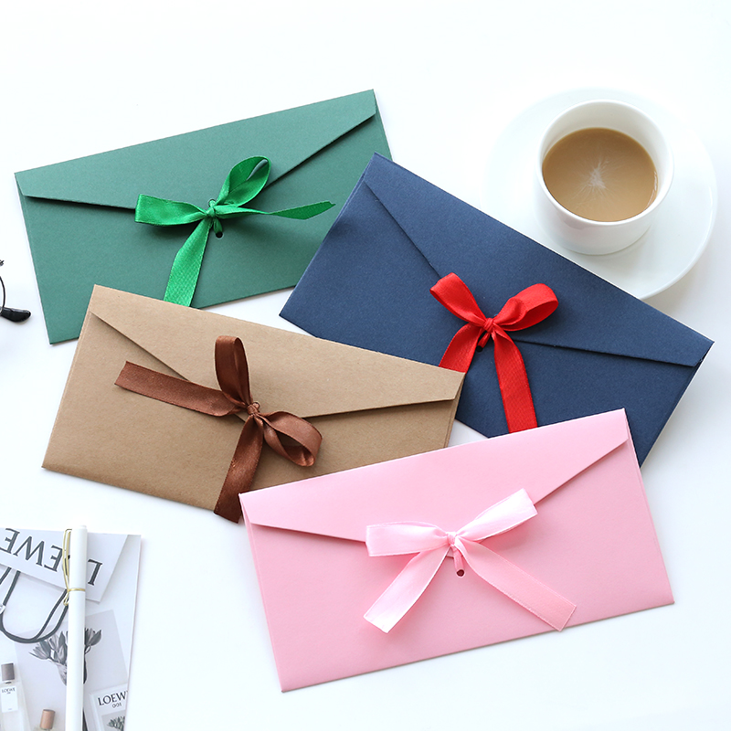 5pcs/lot Retro Silk Ribbon DIY Festival Gift Envelope Letter Papers Butterfly-knot Wedding Invitation Letter