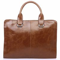 Men's Leather Shoulder Messenger Bags Business Work Bag Laptop Briefcase Handbag Color, Brown
