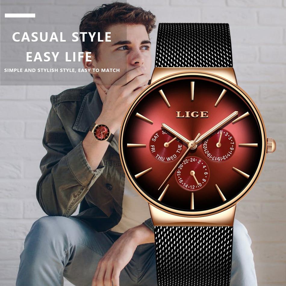 HTB1Y 7SSYPpK1RjSZFFq6y5PpXaR 2019 LIGE Casual Thin Mesh Belt Fashion Quartz Gold Watch Mens Watches Top Brand Luxury Sport Waterproof Clock Relogio Masculino