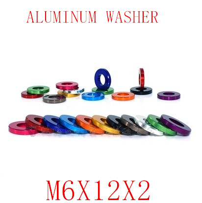 10PCS  M6X12X2 M6 Aluminum alloy flat washer gasket Anodized Multi-color alu washer for RC Model Parts10PCS  M6X12X2 M6 Aluminum alloy flat washer gasket Anodized Multi-color alu washer for RC Model Parts