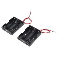 2 Pcs Black Red Cable Plastic 3 x 1.5V AA Batteries Cell Box Holder