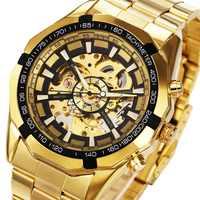 Winner часы для мужчин Скелет автоматические механические золотистые часы-скелетоны винтажные мужские часы s часы Forsining лучший бренд класса лю...