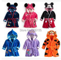 2016 Baby bathrobe kids Pajamas Mickey Minnie bath robe baby homewear boys girls hooded robe cartoon clothes