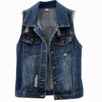 Denim Vest Women laple Coats Fall Jeans Vintage Waistcoat Sleeveless hole Pocket Jacket Plus Size 5XL