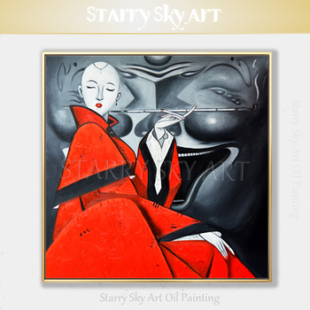 Professional Artist Hand-painted High Quality Special Lady Smoking Oil Painting on Canvas Handmade Lady Portrait Oil Painting