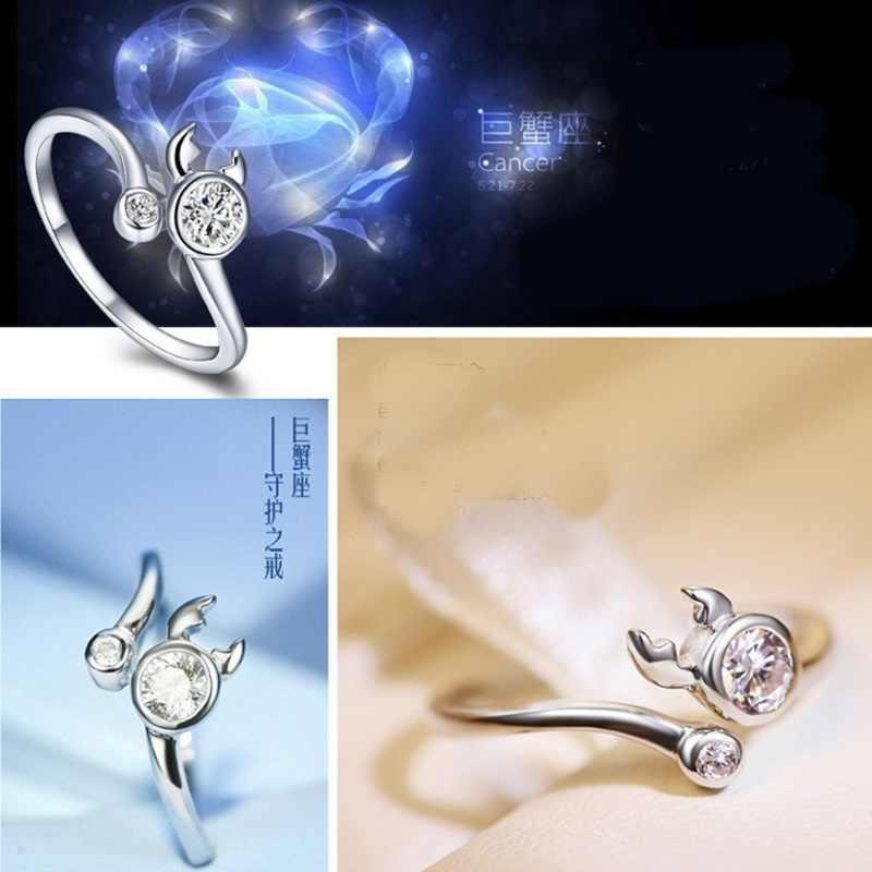 OMHXZJ ขายส่งบุคลิกภาพแฟชั่น OL ผู้หญิงสาวงานแต่งงานของขวัญ Constellation AAA Zircon แหวนเงิน 925 RN144