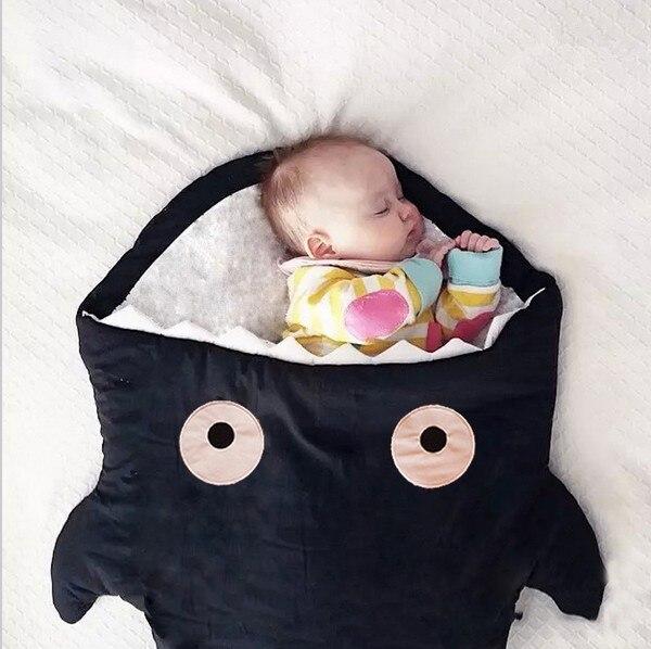 Discount! Cartoon Shark sleeping bag Winter Strollers Bed Swaddle Blanket Wrap cute Bedding baby Sleepsacks