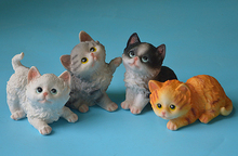 4 psc cute 11cm Crafts Garden home Decoration Resin cat artificial animal garden Sculpture cats for Home Decor  ornaments gifts