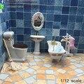 1:12 Móveis casa de Bonecas Em Miniatura Escala Projetos Do Banheiro 4 Pcs Set Porcelana Acessórios