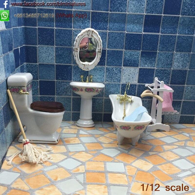 1 12 scale miniature bathroom designs 4 pcs set porcelain - 1 4 scale furniture for interior design ...