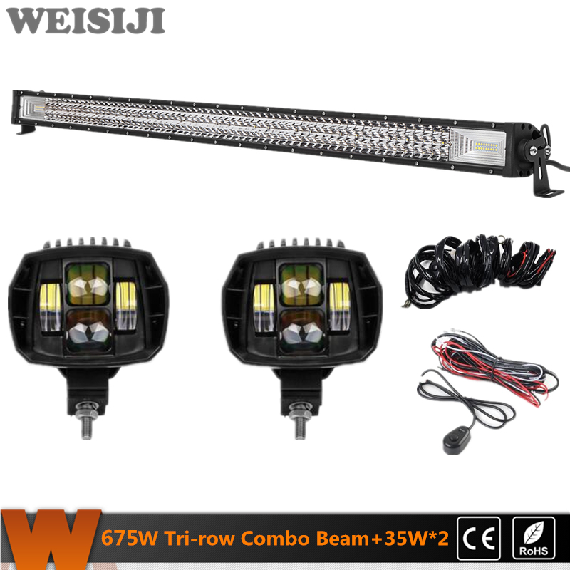 WEISIJI Hot Selling Tri-row 675W LED Light Bar+2Pcs 35W Low Beam LED Work Lights+2Pcs Wiring Kits Set for Jeep Truck SUV ATV UTV видеоигра бука saints row iv re elected
