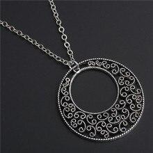 1 шт богемные полые круглые цветы кулон ожерелье цепь длинное ожерелье антикварные серебряные ювелирные изделия E574