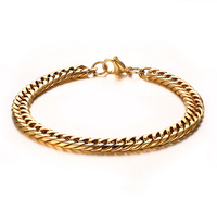 Gold Color Chunky Curb Chain Wristband Bracelets in Stainless Steel