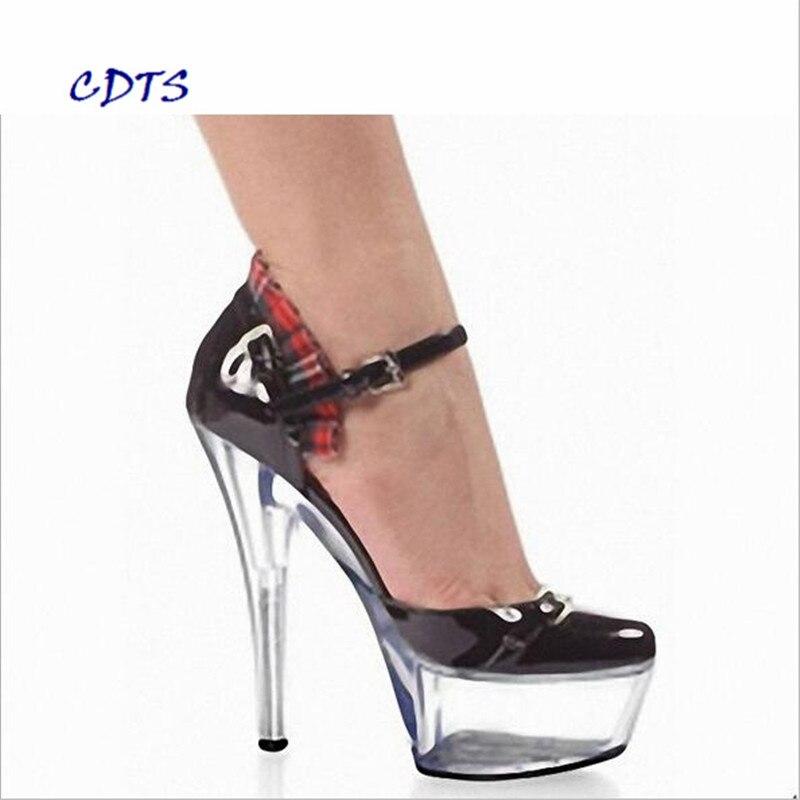 ФОТО CDTS 2016 Ankle Strap shoes woman spring/autumn Round Toe 15cm high heels crystal platform wedding Lace pumps,Big 35-45 46