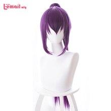 L email wig Game Fate Grand Order Peluca de Cosplay de cathach Lancer, pelo sintético largo y liso resistente al calor