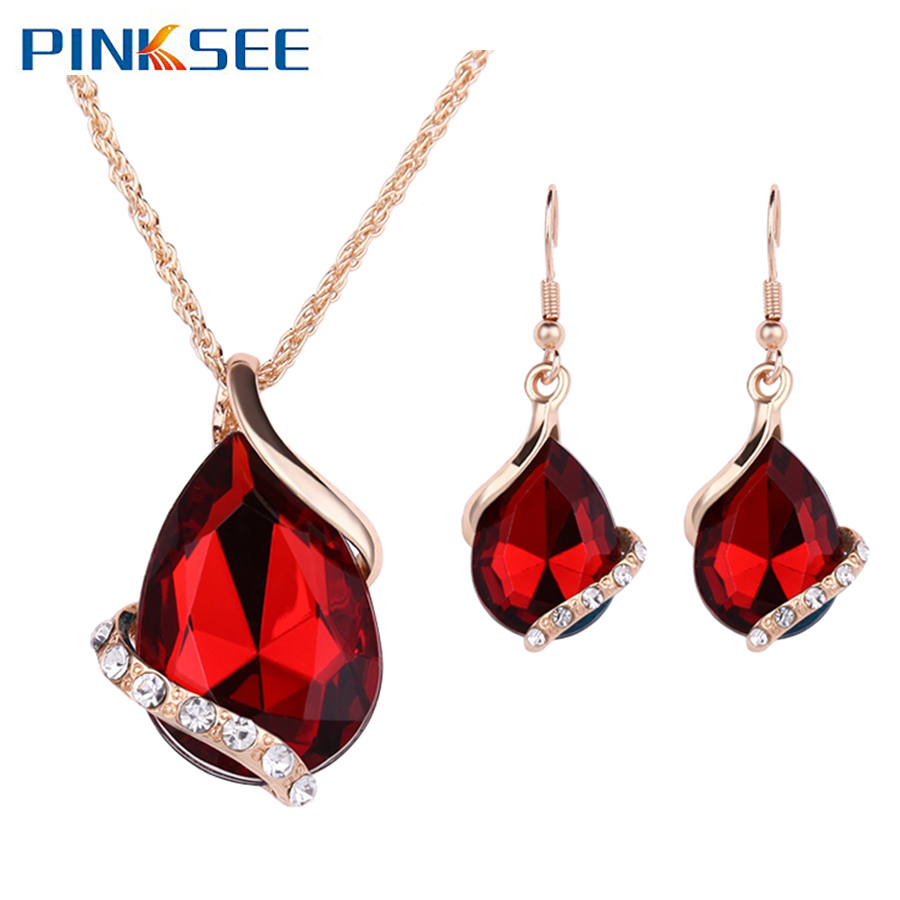Brand New Golden Crystal Jewelry Sets Luxury Vintage Party Water Drop CZ Necklace&Earrings Wedding Jewelry Colar Feminino