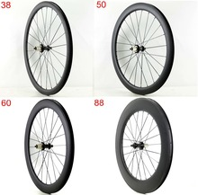 Free shipping 700C 38/50/60/88mm depth Road carbon wheels 25mm width Clincher bicycle single rear weels UD matte finish