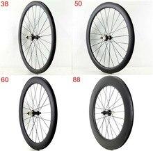 Roues arrière simples en carbone 700C pour bicyclette, 38/50/60/88mm de profondeur, 25mm de largeur, avec finition mate UD, livraison gratuite