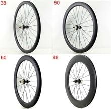 Ruedas de carbono para bicicleta de carretera 38/50/60/88mm de profundidad, cubiertas de 25mm de ancho, acabado UD mate, envío gratis