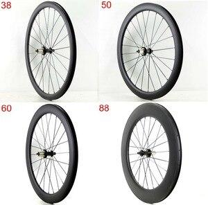 Image 1 - Ücretsiz kargo 700C 38/50/60/88mm derinlik yol karbon tekerlekler 25mm genişlik kattığı bisiklet tek arka tekerlekler UD mat finish