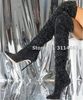 Sexy Black Crystal Over The Knee Boot Pointed Toe Metal Heels Tight High Boot Side Zipper Winter Long Boot Woman Rhinestone Boot