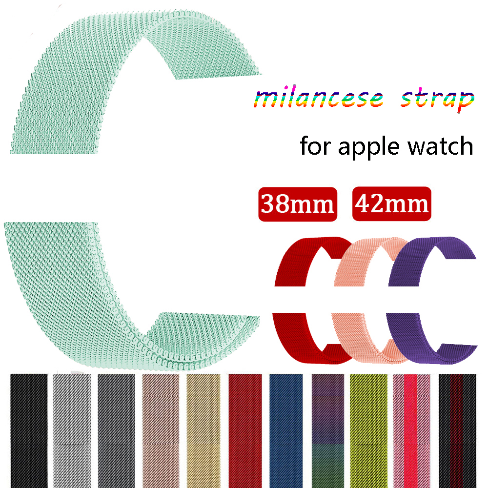 Milanese loop For Apple watch band strap series 3/2/1 iwatch band 42mm 38mm Stainless Steel metal Bracelet wrist belt watchband idg for apple watch 1 2 3 stainless steel milanese strap metal loop wrist band 38 bracelet 42mm watch protective case box frame