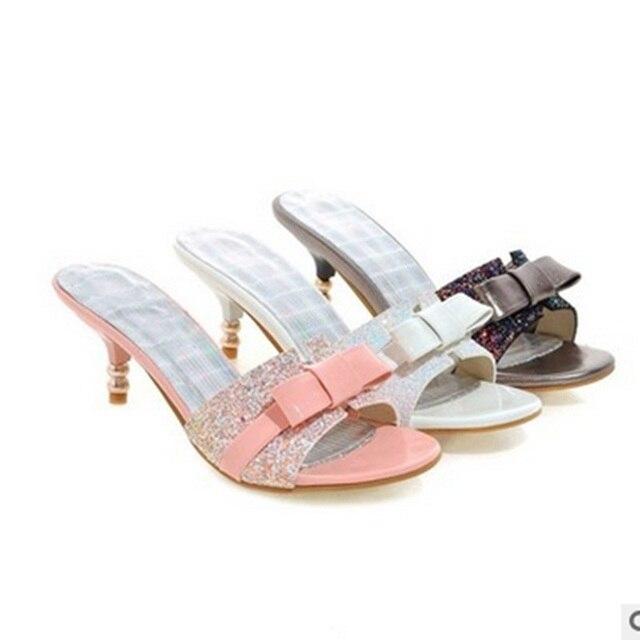Ladies Sexy Bling Bow Peep Toe Shoes Maximum Thin Slipper Women Sandals Pumps Slip-On Black Pink