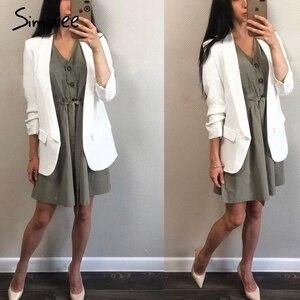 Image 4 - Simplee bottoni Vintage camicia di vestito delle donne con scollo a V manica corta in cotone di lino breve estate abiti da ufficio Casual coreano abiti