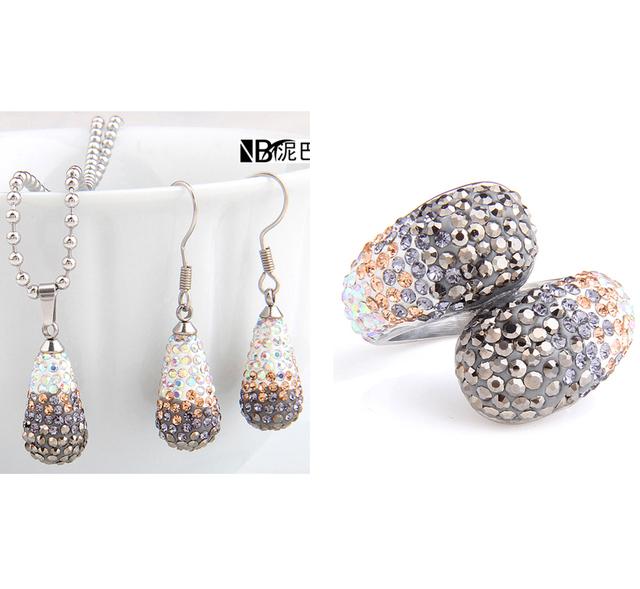 Bela Jóia do Aço Inoxidável Venda Quente moda Bling CZ cristal Anel brincos colar Nupcial conjuntos de Jóias para As Mulheres