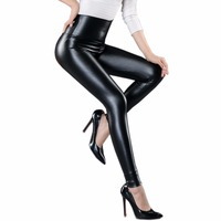 Spring Autumn Fashion Women New High Waist Abdomen Leather Pencil Pants Stretch PU Leather Pants Leggings