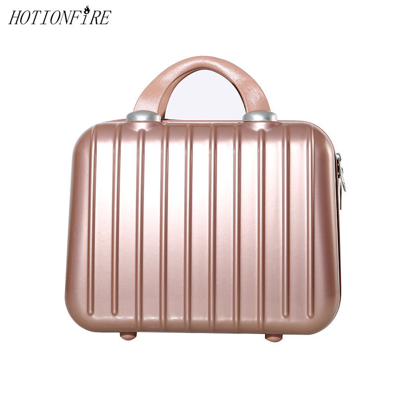 Women Bag Fashion Light 14 Inches Suitcase Zipper Lady Business ABS Cosmetic Bag Suitcase For Makeup Bag Toiletry Cosmetic Case