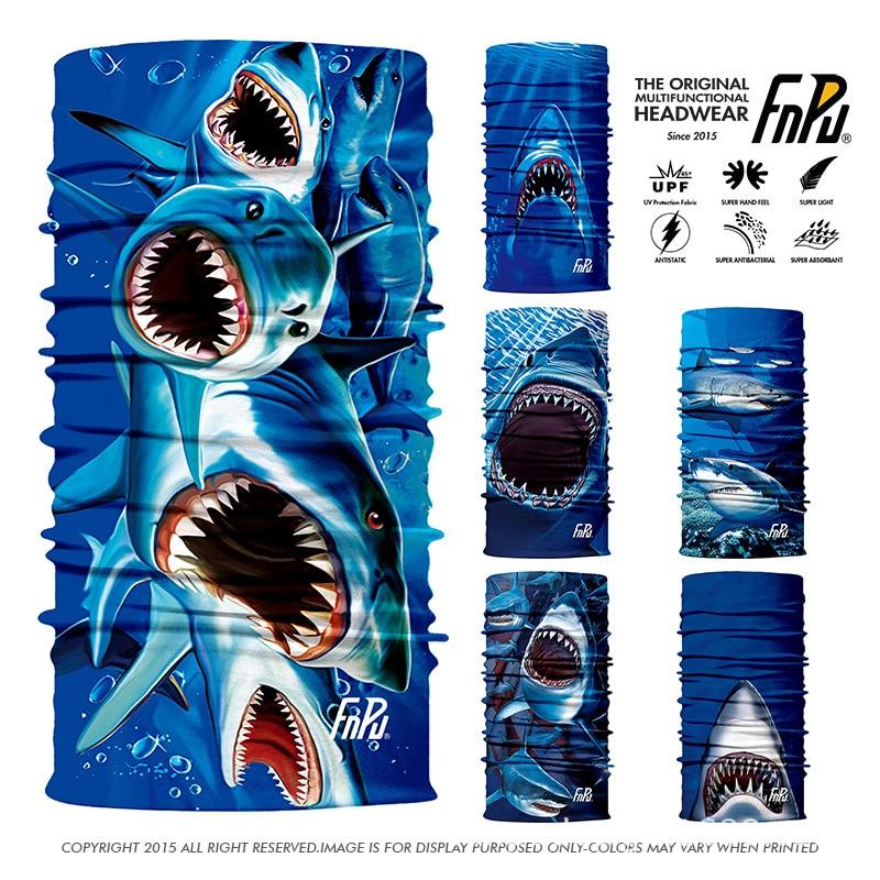 3D Magic Balaclava Big Shark Pattern Fishing Multifunctional Sports Bandana pesca Headband Bandana High-elastic Headwear 100PCS