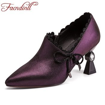 FACNDINLL brand design genuine leather women pumps new fashion sexy high heels pointed toe shoes woman dress office ladies shoes