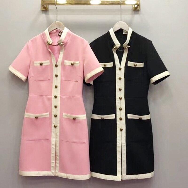 Genou Boutons 2019 Printemps dessus Mince Robe Courtes V Mode Jolie Manches Mini Noir rose neck Quatre Haute Du Qualité Femelle Poches bgY76yIfv