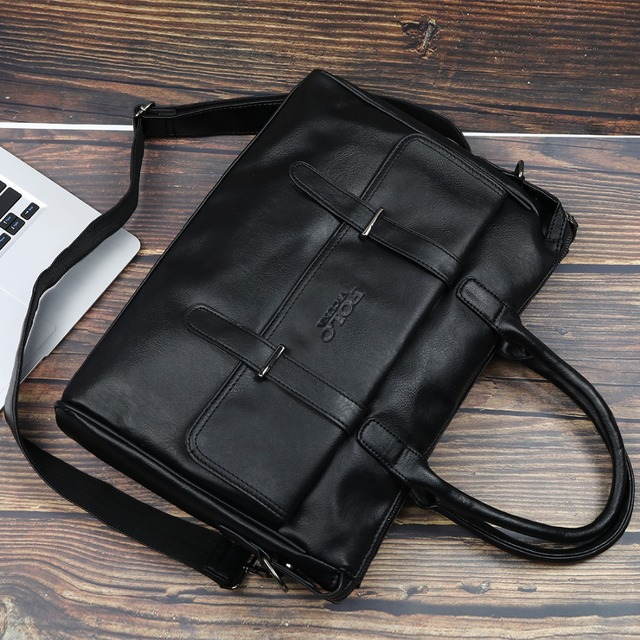 VICUNA POLO New Black Leather Famous Brand Business Men Briefcase For Documents Bag Casual Large Capacity Travel Man Handbags