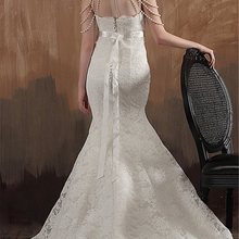 Mermaid Strapless Floor Length Sashes Lace Wedding Dress