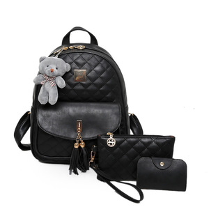 JIAOO 3pcs/set women leather backpack Wild leisure women backpack waterproof fashion backpack school bag mochilas mujer