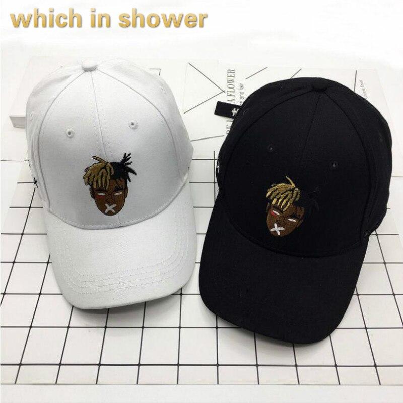 937df301fe6 casual black white singer xxxtentacion baseball cap hip hop cartoon  embroidery dad hat for women or