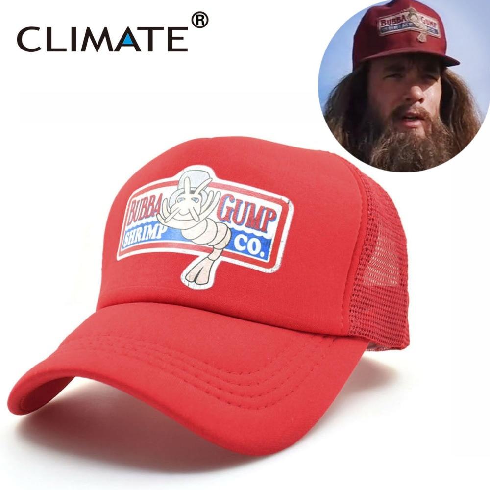 CLIMATE Forrest Gump Cap Hat 1994 Bubba Gump Cosplay Caps GUMP Running Sport Outdoor Net Trucker Mesh Baseball Snapback Caps Hat