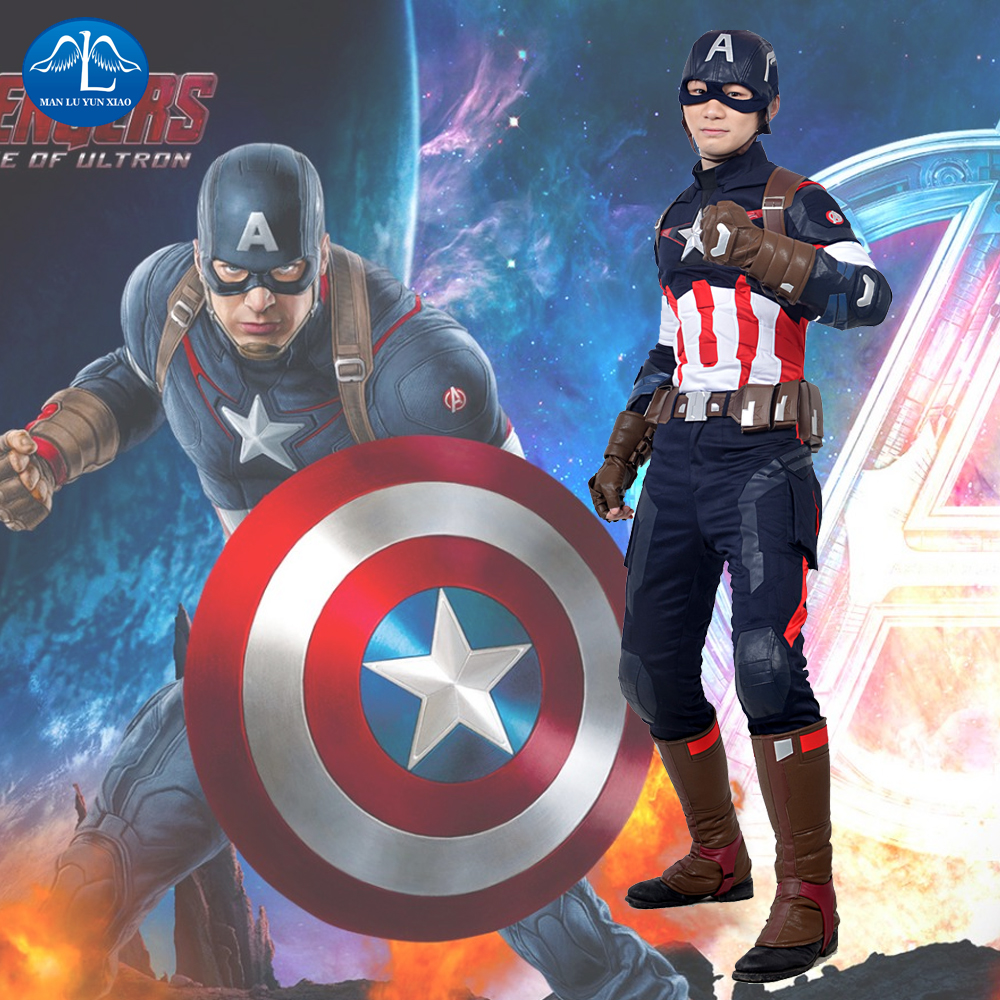 MANLUYUNXIAO The Avengers 2 Captain America Cosplay Costume Halloween Costumes For Men Adult Superhero Costume Custom Made