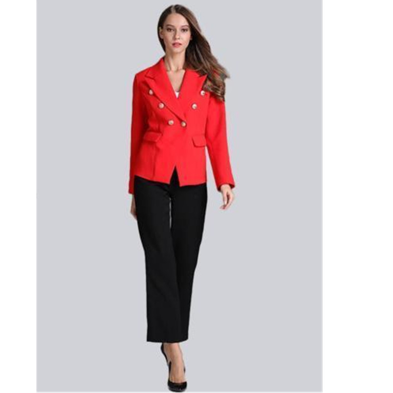 women professional suits womens uniform pants New Styie Double Breasted Women Suits 2 Pieces Jacket+Pants Formal Blazers