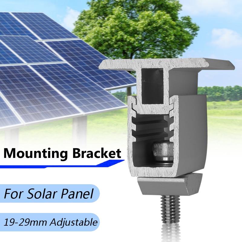 US $4 53  Single Solar Panel Bracket Mouting Bracket Adjustable 19 29mm  Range Aluminum Alloy Medium Pressure Block Photovoltaic Bracket-in Solar  Power