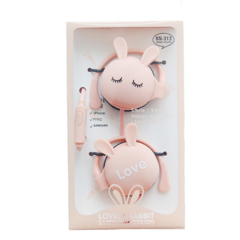 QearFun Cartoon Rabbit Ear Hook Wired Earphone Sport Running Stereo Headphones Children Girl Headset For Mobile Phone
