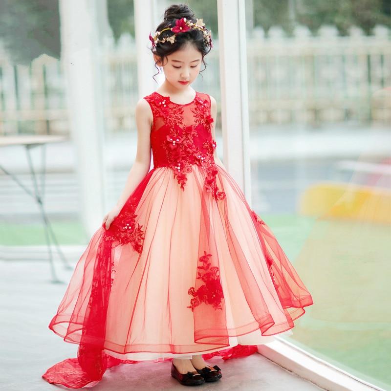 2018 new girls dress big red trailing princess pettiskirt evening costumes catwalk flower girl wedding dress все цены