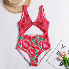 Melancia das mulheres One Piece Swimsuit Swimwear Mulheres Cut Out One Piece Cintura Alta Swimsuit Atadas Escavar Maiô Acolchoado(China)