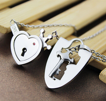 European And American Fashion Jewelry Key And Heart Lock I Love You Couple Pendant Necklace Valentine'S Bithday Day Gift