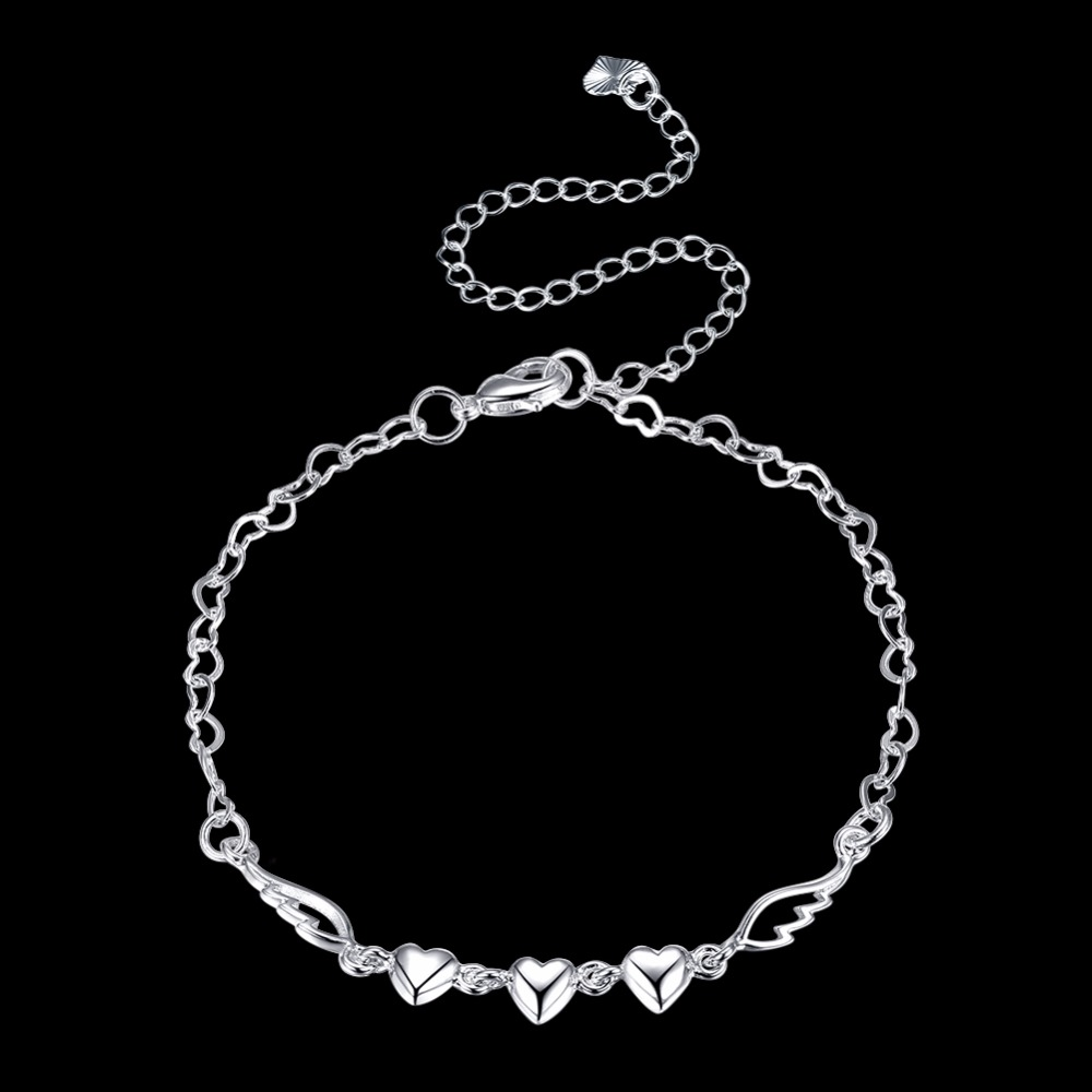Queen Angel Wing Crystal Heart Indian Anklet Bracelet Argent 925 Silver  Anklets For Women Foot Jewelry