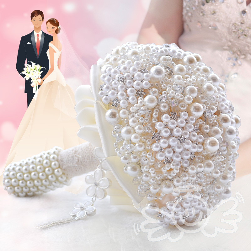 2016 Elegant pearl bride wedding bouquet with beaded crystal Flower decoration Wedding Bridal bouquet bride wedding accessories