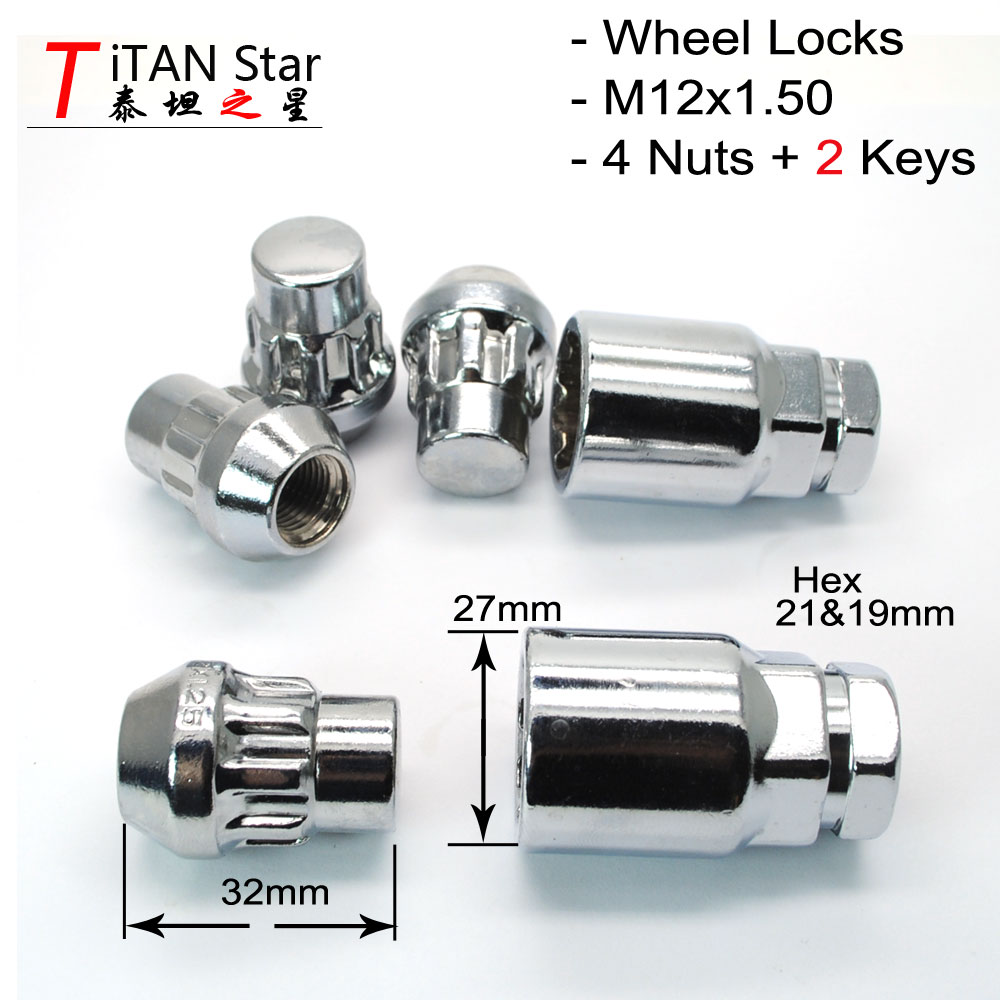 1//2 ET EXTENDED THREAD OPEN END WHEEL LOCKS CHROME LUG NUTS SET MOST FORD JEEP